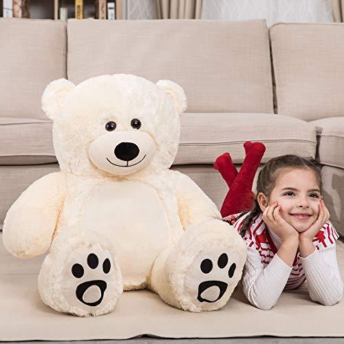 WOWMAX 3 Foot Giant Teddy Bear Daney Cuddly Stuffed Plush Animals Teddy Bear Toy Doll for Birthday Christmas Ivory 36 Inches -