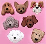 Baking Mold Animal Dog Faces 7 Cavity Silicone Mold for Decoration Fondant Jelly Chocolate Gum Paste Crafts Non-stick Cake Bread Mold Candy Baking Mould Ice Cube Soap Molds (A 174)