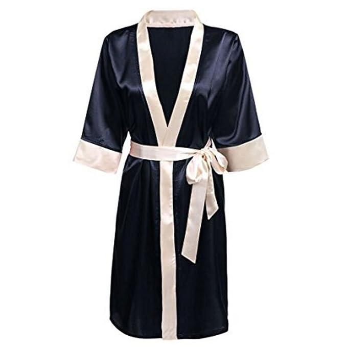Hzjundasi Satín Plain Seda Kimono Robe Cuello en V Ropa de dormir Bata de baño Estilo corto Nightshirt Longitud de la rodilla Dressing Gown Sleepwear para ...