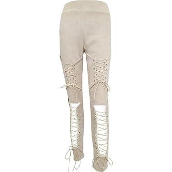 LnLyin Jeans Stretch Hose Zerrissen High Waist Jeanshose Skinny Hochbund Hose Damen Mädchen Frauen,Beige,XL