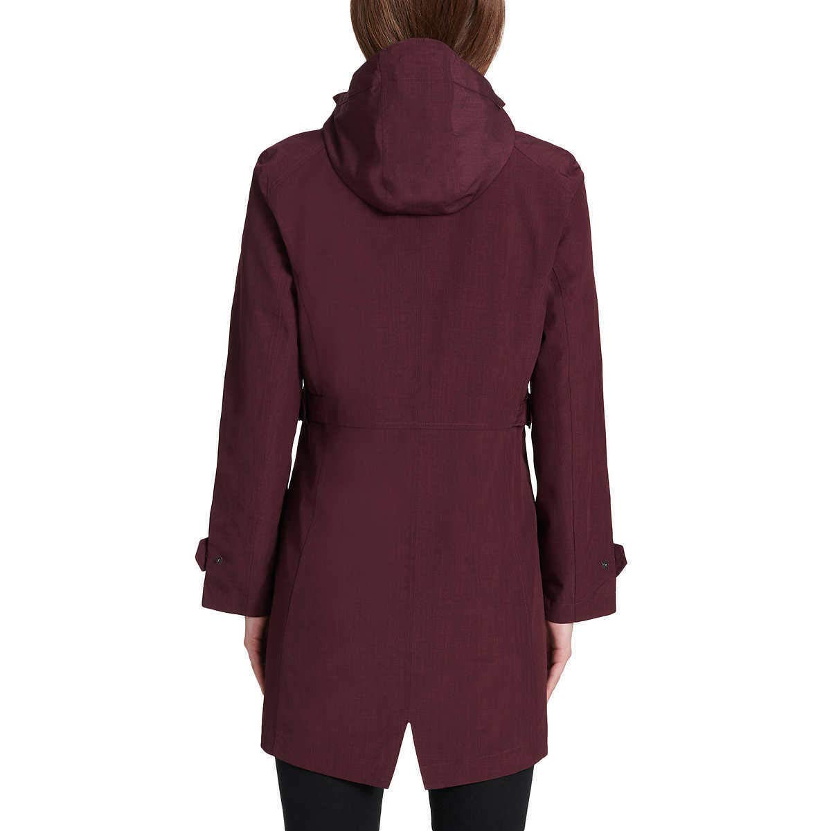 Kirkland Signature Ladies Trench Rain Jacket, Variety (XXL, Merlot)