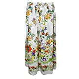 Mogul Womans Beach Skirt White Floral Printed Boho Gypsy Casual Summer Skirts