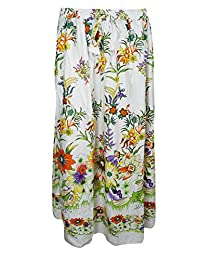 Mogul Womans Skirt White Floral Printed A-Line Boho Gypsy Maxi Long Skirts
