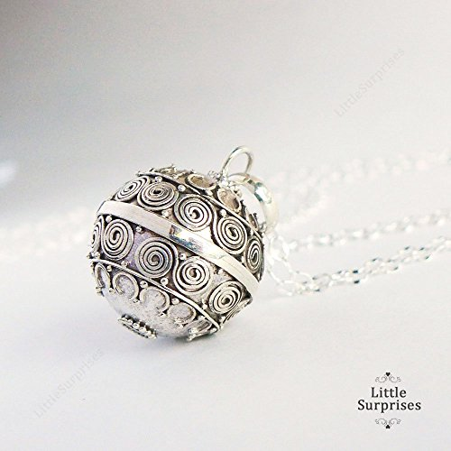 16mm Swirls Harmony Ball Sterling Silver Bola Pregnancy Necklace 36