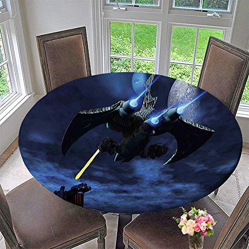 Battleship Tie Silk - Mikihome Modern Simple Round Tablecloth A Lighter and ceship Blasts a Laser Beam Toward an Enemy Battleship Decoration Washable 31.5