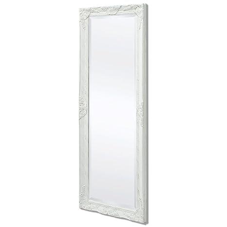 vidaXL Miroir Mural pour Chambre Salle de Bain Style Baroque 140 x 50 cm  Blanc