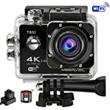Meerveil T800 4K Action Camera WiFi Waterproof Sports Camera with Remote Control, 170 Degree Wide Angle Lens, 2 × 1050mAh Batteries,Dual Battery Charger,Carrying Case,Full Accessories Kit
