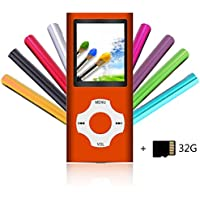 Tomameri Portable MP4 / MP3 Player with a 32 GB Micro SD Card, MP3 Player with E-Book Reader, Rhombic Button, Mini USB Port, Photo Viewer, Voice Recorder, Including Earphones and USB Charger - Orange