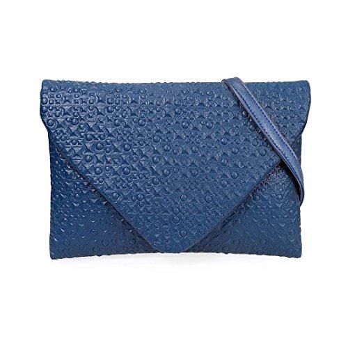 Diseño de BMC de piel sintética con tachuelas Fashion diseño de sobre de estampado a cuadros de Circle piñón libre Profundo Océano Azul