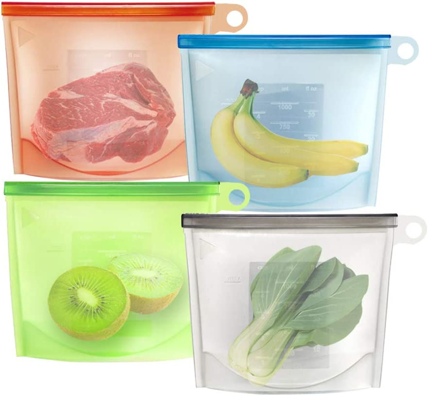 Reusable Silicone Food Storage Bags,Silicone Food Bag Airtight Seal Food Preservation Bags/Versatile Preservation Bag Container for Vegetable,Meat,Lunch,Fruit