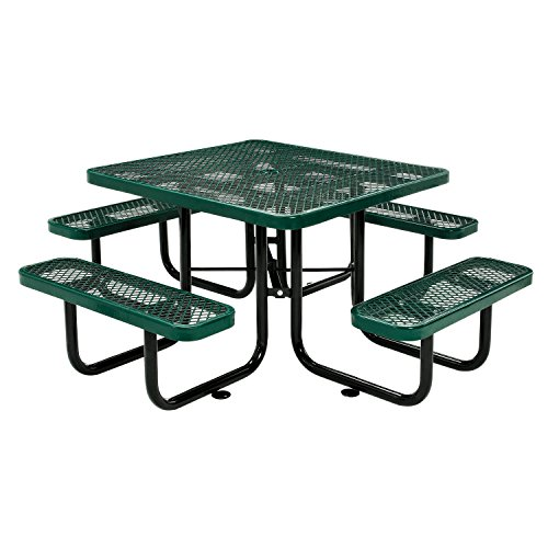 Global Industrial 46″ Expanded Metal Square Picnic Table, Green