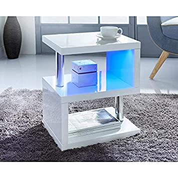 New Stainless Steel Tubes Alaska LED Lighting High Gloss Side//Coffee Table