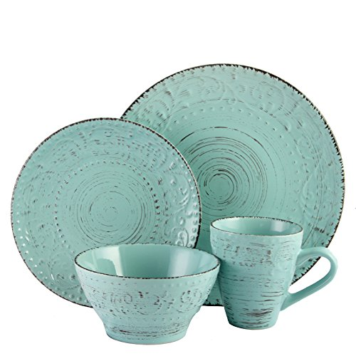 Elama ELM Malibu Waves 16-Piece Dinnerware Set in Turquoise, - Sets Dishes Unique Dinnerware