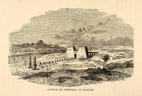1880-wood-engraving-avenue-sphinx-karnak-egypt-luxor-architecture-tomb-pharoah-original-engraving