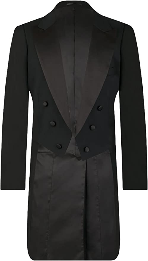 Edwardian Men's Formal Wear Dobell Mens Black Evening White Tie Tailcoat Jacket 100% Wool £149.99 AT vintagedancer.com