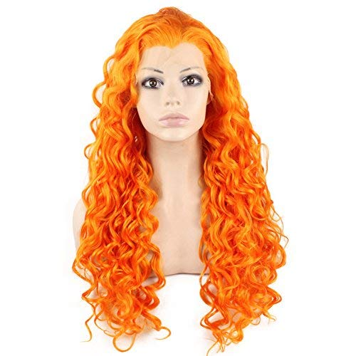 Mxangel Long Heat Resistant Synthetic Hair Orange Celebrity Stylish Curly Lace Front Wig Cosplay -
