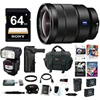 Sony 16-35mm E-Mount Lens, HVLF43M Flash, VGC1EM Battery Grip Bundle Pack