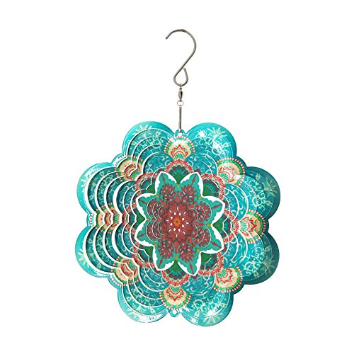 - FONMY Stainless Steel Wind Spinner-3D Laser Cut Hand Painted with Color Sparkling Powders Indoor Outdoor Garden Decoration Crafts Ornaments 6Inch Multi Color Mandala Flower Wind Spinners