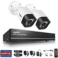 SANNCE 4CH 1080N Security Camera Video DVR and (2) 720p HD Weatherproof Surveillance Security Camera System with Remote Access, Motion Detection-NO HDD