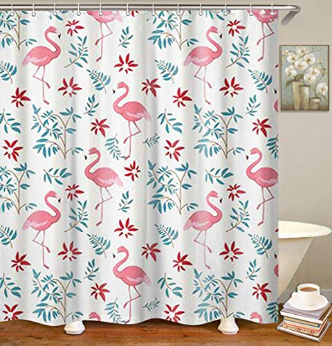 Dynabit Pink Flamingo Fabric Shower Curtain, 72×72 inch Mildew Resistant and Waterproof Bathroom Curtain with 12pc Rings