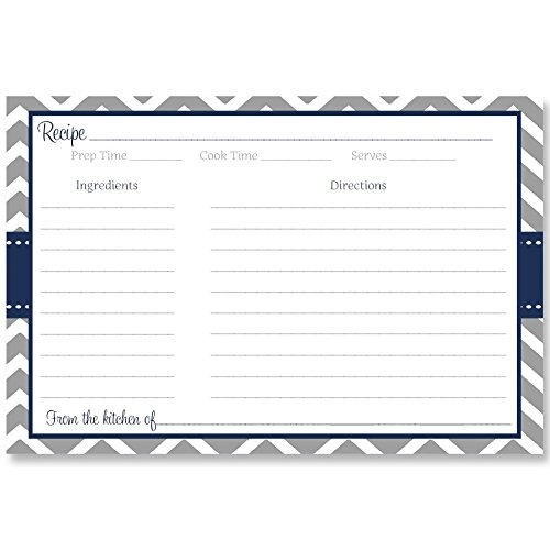 Recipe Cards, Chevron Stripes, Navy, Blue, Gray, Bridal, Wedding, Shower, Housewarming, Gift, Double Sided with Lines, Size 4 x 6, Set of 24 Printed Cards