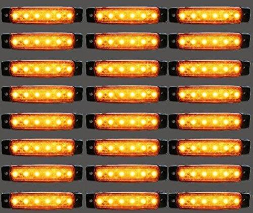 24/7Auto 30L0051Y Luces para Marcadores para Camió n Remolque 24 V LED, Naranja, 30 Piezas