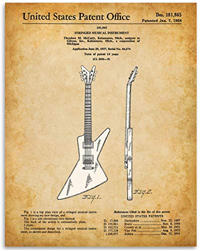 1958 Gibson Explorer Guitar Patent - 11x14 Unframed Patent Print - Great Gift Under $15 for Guitar Players