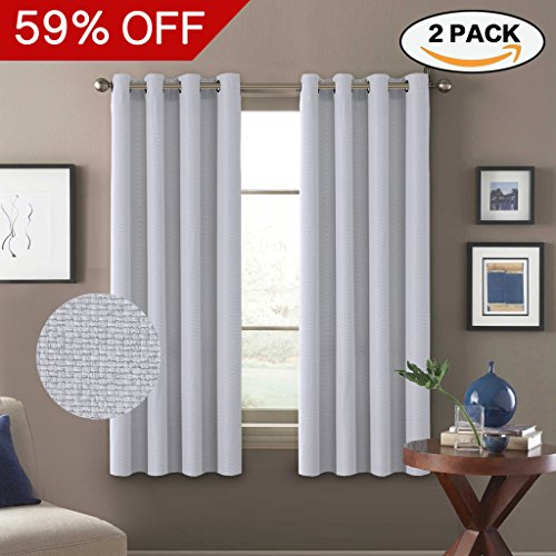 Sets Bedroom White Antique (H.VERSAILTEX Thermal Insulated Room Darkening Rich Quality of Textured Linen Like Bedroom Curtains for Small Window,Antique Grommet Drapes,52 by 63 - Inch-Greyish White(Set of 2 Panels))
