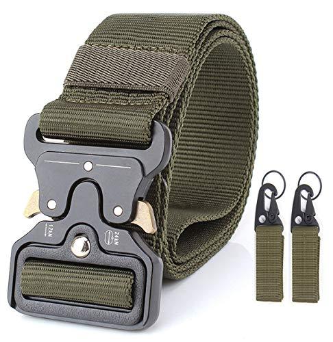 (1.7″ Military Tactical Belts,Heavy Duty Gun & Work Belt, Quick-Release Webbing Nylon Belts with Metal Buckle (Army Green))