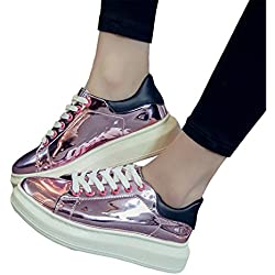 Dahanyi Stylish Patent Leather Creepers Platform Shoes Woman NEW Casual Loafers Gold Silver Flats Lace-Up Women Shoes pink 2 9