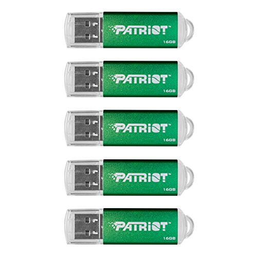 Patriot Memory 16GB Pulse Series USB 2.0 Flash Drive, 5 Pack, Green (PSF16GXPPG5PK) (Flash Usb Drive Series 16gb)