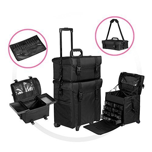 2 in 1 Rolling Makeup Trolley Cosmetic Case Beauty Artist Bag Storage Organizer from Unknown