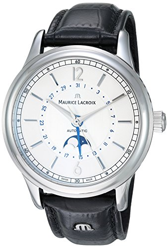 Maurice Lacroix Men's Les Classiques Stainless Steel Swiss-Automatic Watch with Leather-Crocodile Strap, Black (Model: LC6168-SS001-120-1)
