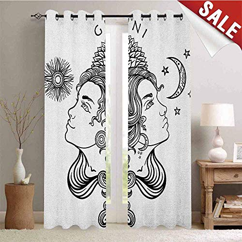 Flyerer Zodiac Gemini, Window Curtain Drape, Romantic Mystical Horoscopes Day and Night with Happy and Sad Faces, Customized Curtains, W108 x L108 Inch Black and White