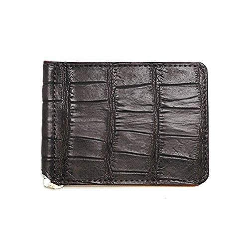 マネークリップ クロコダイル×牛革 折財布 本革 札バサミ B0752C9MG7 チョコレート×キャメル