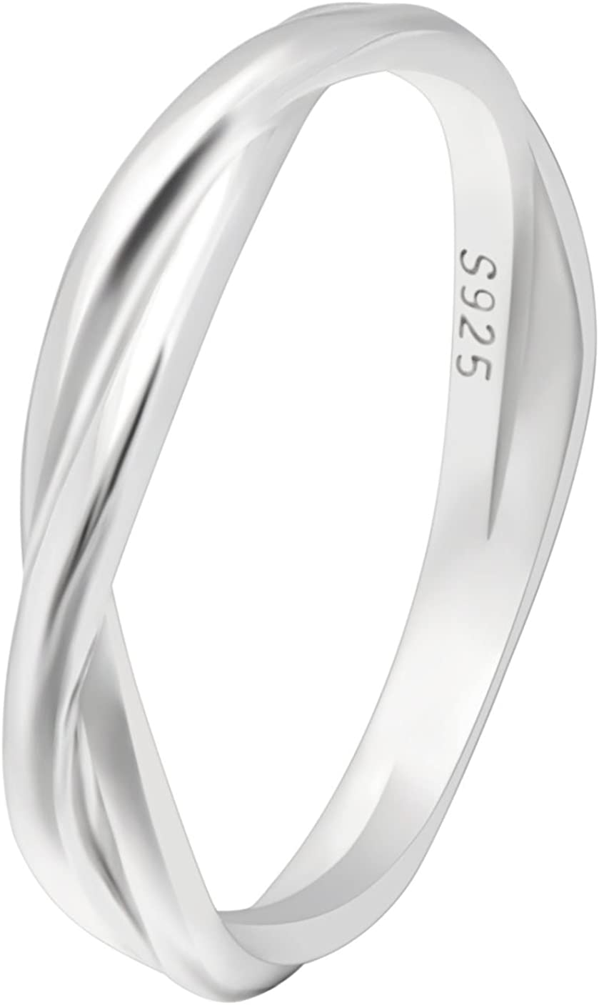 Ginger Lyne Collection Aurora Infinity Twisted Sterling Silver Anniversary Wedding Band Ring