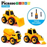 big loader toy - PicassoTiles 3-in-1 Combo DIY Take-A-Part Construction Truck Toys Car Set Bulldozer, Cement Concrete Mixer, and Front Loader Dismantling Toy Building Kit with Child-Size Safe Large Parts PTT303