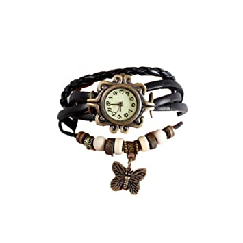 cosanter Reloj Retro Vintage Mujer Reloj De Pulsera Brazalete Reloj Colgante Cuarzo Relojes con diseño de mariposas pulsera cadena pulsera Negro: Amazon.es: ...