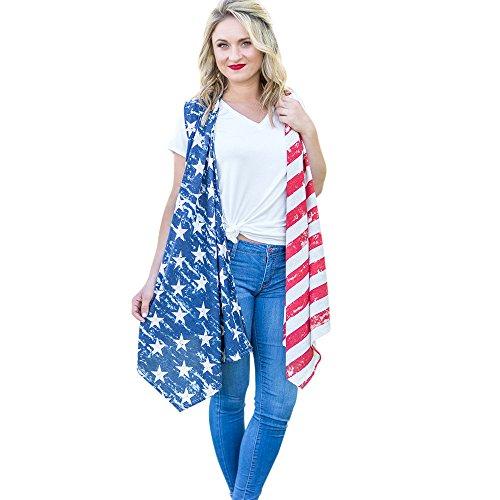 HARRYSTORE 2017 Forme a nueva mujer la impresión americana de la bandera imprimen la blusa sin mangas de la rebeca de la capa Multicolor