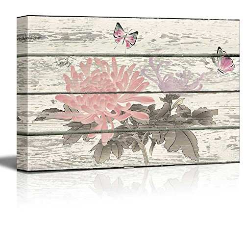 Butterflies and Flowers Pink and Blue Artwork Rustic