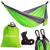 Soufull Outdoor Travel Lightweight Portable Nylon Parachute Multifunctional Camping Hammock with Ropes and Carabiners (Green) ()
