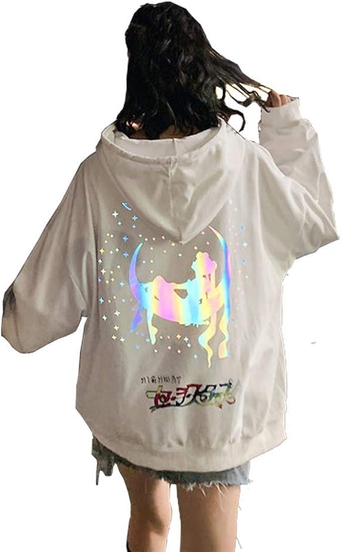 NeReflective Women/'s Oversized Hoodie Anime Sailor Moon Illuminate Sweatshirt