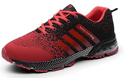 Confort Respirant Air Athlétique Semelle Course Sport de Sneakers Coussin Rouge Hommes Femmes Chaussures Baskets 1 AqzZx8Zw