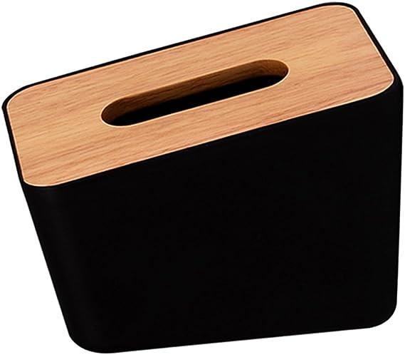 Baoblaze Bo/îte /à Mouchoirs en Bois Noir Bo/îte Rangement de Mouchoirs Distributeur Tissu Papier Accessoires de Salle de Bain et Cuisine