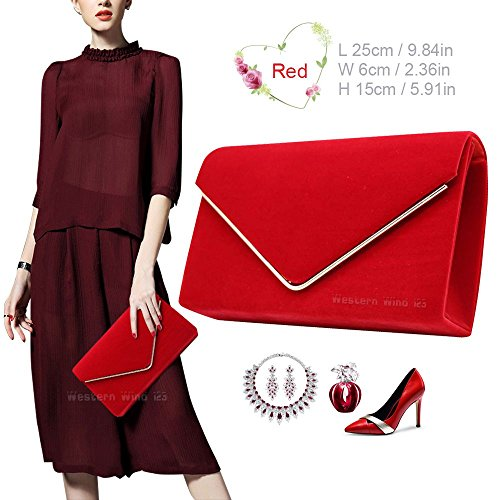 Red Handbag Suede Bag Envelope Lavish Ladies Bag Party Wocharm Clutch Wedding Shoulder Prom Velvet Womens Purse Rq6ZHwx