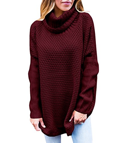 - Womens Sweaters Turtleneck Oversized Long Sleeve Loose Knit Jumper Tops Tunics Burgundy