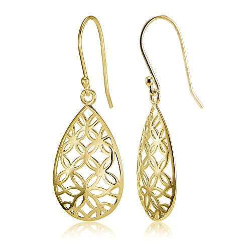 Yellow Gold Flashed Sterling Silver Filigree Floral Design Teardrop (Gold Floral Drop)