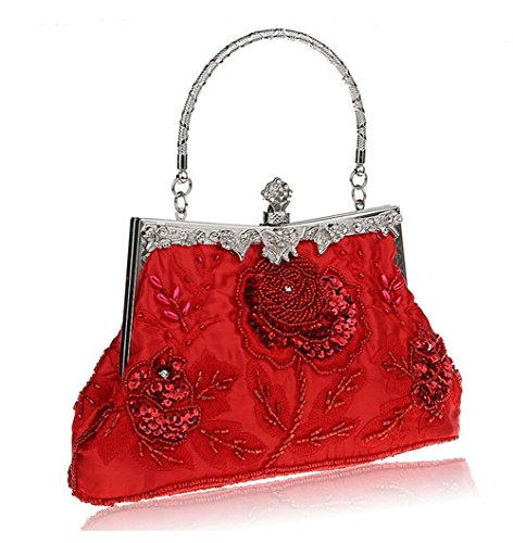Purse Red Beaded Clutch Women's Bopstyle Party Sequin Vintage Handbag Rose Evening wTBnUqA6