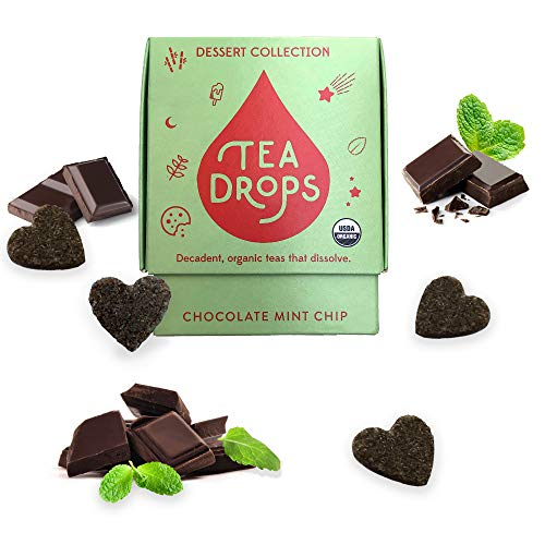 Sweetened Organic Loose Leaf Tea | Caffeine Free Chocolate Mint Chip Tea | 10 Servings of Decadent Dessert Teas Without the Calories | Delicious Hot or Iced | By Tea Drops