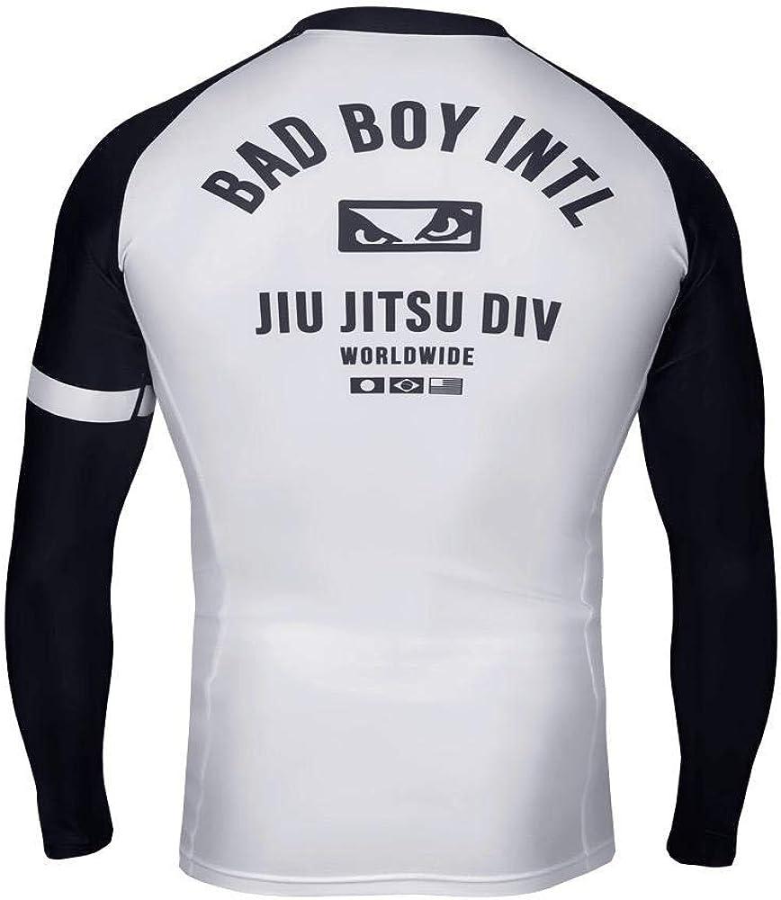 Bad Boy OSS Grappling Rash Guard Long Sleeve White Black BJJ Jiu Jitsu No-Gi